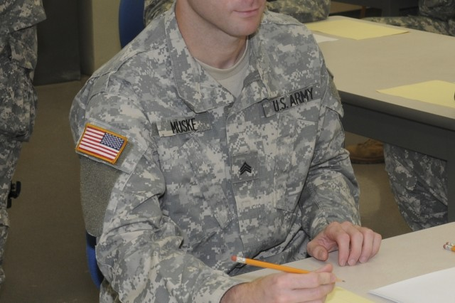 Sgt. Zachary Muske, National Capital Region, prepares to take the written exam during 2008 Noncommissioned Officer/Soldier of the Year competition Oct. 1 at Fort Lee, Va. Photo by Amy Perry.