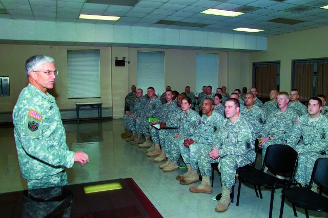 Gen. George W. Casey Jr., Army chief of staff, meets with junior officers and senior noncommissioned officers of Fort Drum's 3rd Brigade Combat Team on Monday before their upcoming deployment to Afghanistan.