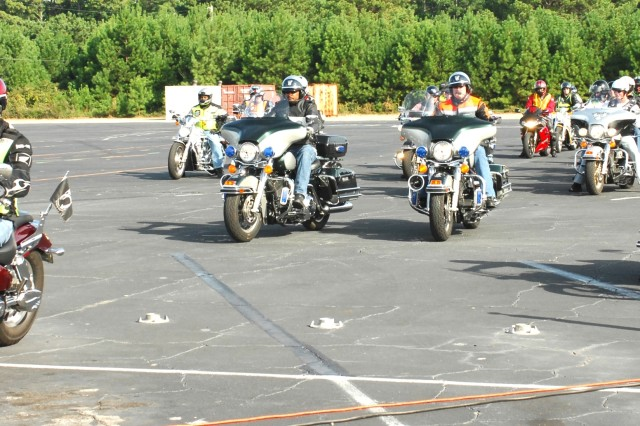 About 50 riders from the Atlanta area met Sept. 25 and 26 at Fort Gillem for the Atlanta Area Motorcycle Safety Rally. The group participated in demonstrations and safety classes before a group ride to Indian Springs State park, near Jackson, Ga.