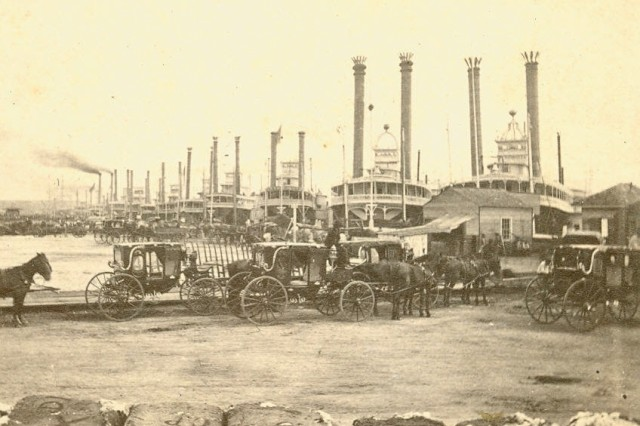 Image shows steamboats that operated along the Mississippi River where New Orleans was the major port.(Mass MOLLUS Photograph Collection).