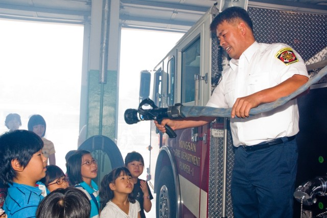 Yongsan's fire department is gearing up for Fire Prevention Week activities Oct. 5-11, which include giving children tours of the fire station and teaching fire prevention techniques.