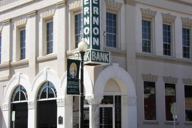 The Vernon Bank building dominates this corner of downtown Leesville, Louisiana.