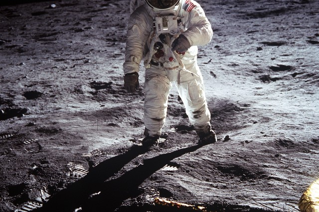 "Astronaut Buzz Aldrin, lunar module pilot, walks on the surface of the Moon near the leg of the Lunar Module ""Eagle"" during the Apollo 11 extravehicular activity, July 20, 1969. NASA plans to further explore the Moon in the future."