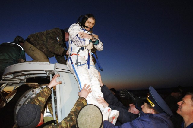 Expedition 12 Commander, Col. William S. McArthur (Ret.), pictured, and flight engineer Valery Tokarev, the 12th crew of the International Space Station, landed in the steppes of Kazakhstan in their Soyuz spacecraft after 190 days in space.