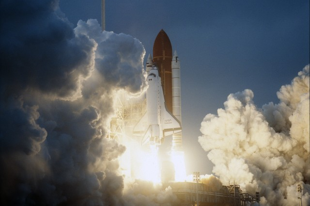 STS-49, the first flight of the space shuttle Endeavour, lifted off from launchpad 39B on May 7, 1992, at 6:40 p.m. CDT.