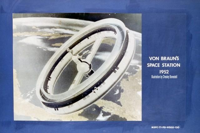Von Braun's 1952 space station concept, illustrated by artist Chesley Bonestell.