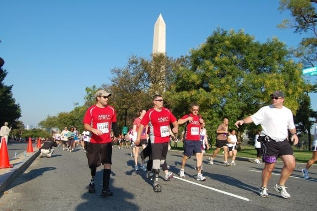 Wounded Warriors participate in the Army Ten-Miler in Washington, D.C. on Sunday. The race included over 26 thousand runners from around the world.