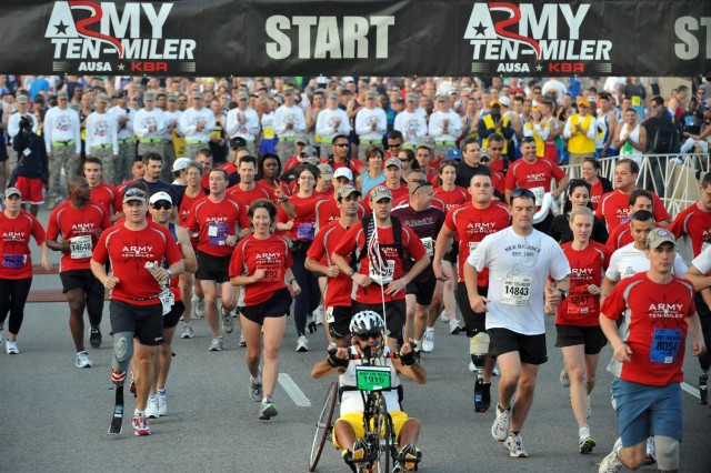 Members of the Missing Parts in Action Team of amputees from Walter Reed Army Medical Center in Washington and Brooke Army Medical Center at Fort Sam Houston, Texas, start the 24th running of the Army 10-miler in Washington D.C., Oct. 5.