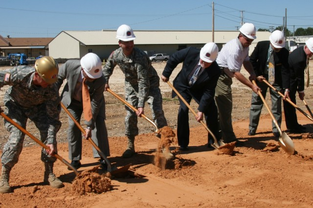 RRAD Depot Commander Col. Daniel G. Mitchell (left) joins other officials during the groundbreaking ceremony for the new Maneuver Systems Sustainment Center. The Red River Army Depot facility is set for completion in 2013.