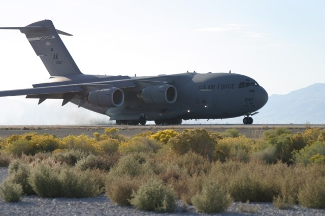 Since completion of the expansion project for Amedee Army Airfield located on Sierra Army Depot, the above C-17 Globemaster III is the first plane to touchdown to be loaded with cargo and shipped to locations in Iraq for the Soldier in the field