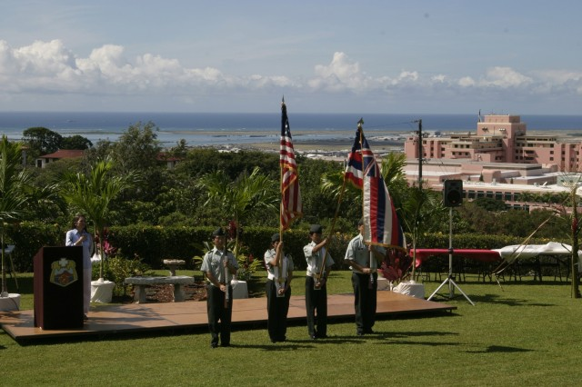 HONOLULU - JROTC cadets from Punahou High School kick off the first Founder's Day with the presentation of colors at the Fisher House. The gathering honored community support and raised awareness about programs and amenities available at the two Fisher houses located on the TAMC installation.