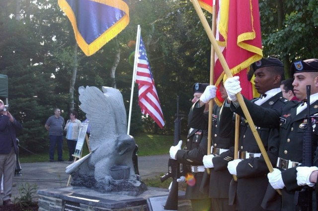 Members of the 101st Airborne Division color guard take part in a ceremony Sept. 26 to unveil a new monument in Bastogne, Belgium, in honor of the unit's famous defense of the Belgian city against German soldiers in mid-December 1944 during WWII.
