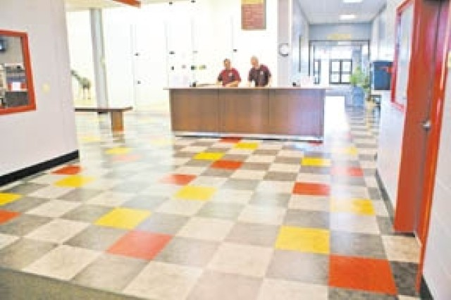 Colorful tiles and fresh paint help illuminate the newly renovated Newman Fitness Center on Fort Stewart.