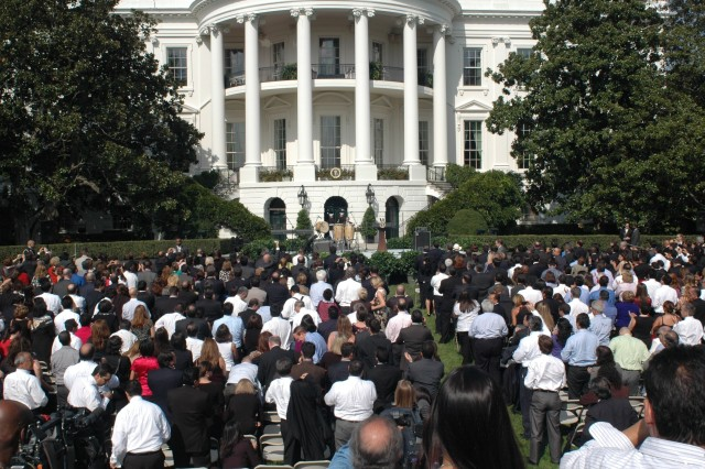 Hundreds attended the Hispanic Heritage Month observance Sept. 9 on the South Lawn of the White House.