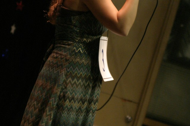 """SCHOFIELD BARRACKS, Hawaii - Charity Walls entices the crowd with a beautiful rendition of """"You will never walk away"""" by Point of Grace at """"Operation Rising Star,"""" held Sept. 26."""