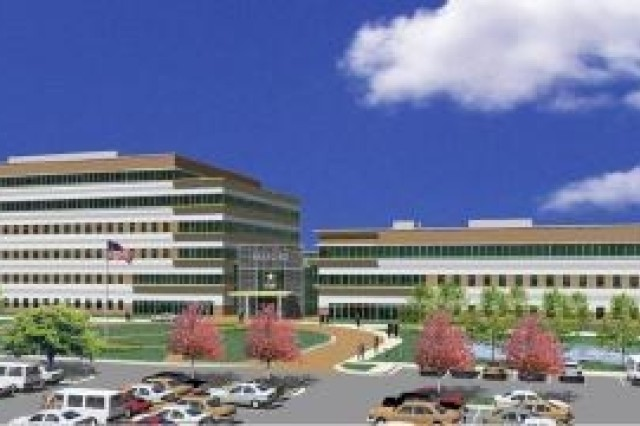This is an artistAca,!a,,cs rendering of the completed AMC facility which will be located along Martin Road.