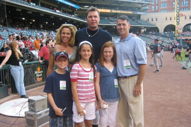 SMDC/ARSTRAT astronaut LTC Shane Kimbrough and his family attended an Atlanta Braves game at Houston's Minute Maid Park on Saturday, Sept 27. Kimbrough, who is originally from the Atlanta area, will bring a Chipper Jones jersey with him on his first space flight this November.