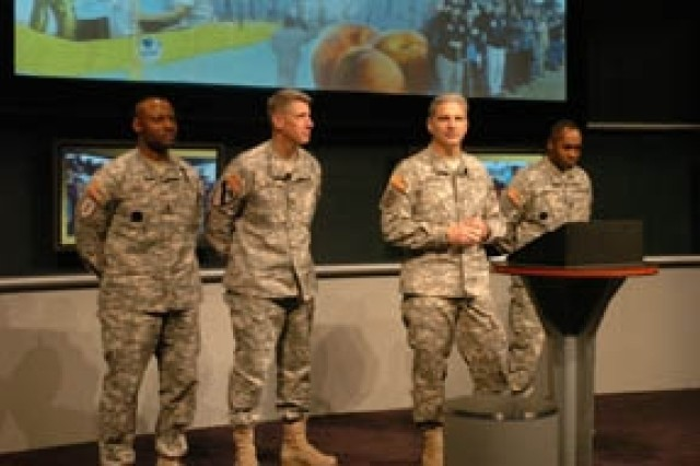 The 3rd Infantry Division and Fort Stewart/Hunter Army Airfield command teams speak at the annual meeting of the Association of the United States Army Oct. 7 in Washington D.C. From left to right Command Sgt. Maj. Charles Durr, Fort Stewart/HAAF garrison command sergeant major, Col. Todd Buchs, Fort Stewart/HAAF garrison commander, Maj. Gen. Tony Cucolo, 3rd Infantry Division commanding general, and Command Sgt. Maj. Jesse Andrews, 3rd Infantry Division command sergeant major.