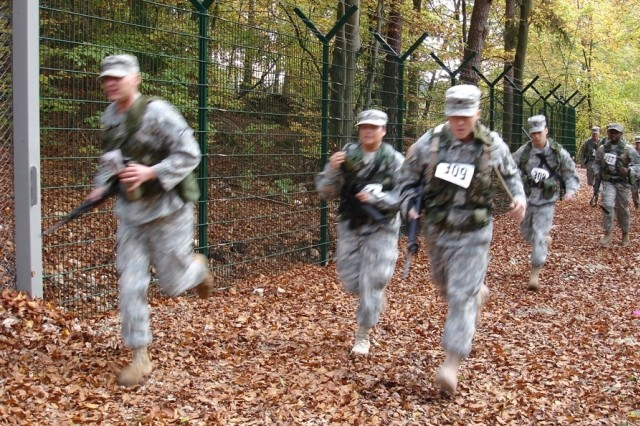 Soldiers from 20 companies competed in the U.S. Forces Europe Unit-Level Combat Cross Country Championships held Oct. 9 at U.S. Army Garrison Hohenfels, Germany.
