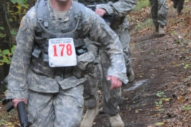 More than 100 Soldiers competed in the U.S. Forces Europe Unit-Level Combat Cross Country Championships held Oct. 9 at U.S. Army Garrison Hohenfels, Germany.