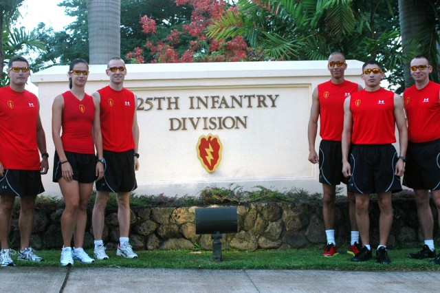 The 25th Infantry Division Tropic Lightning Ten-Mile Run Team gather at division headquarters prior to heading to Washington D.C. to represent the 25th ID at the annual Army Ten-Miler and at the Association of the U.S. Army Conference.