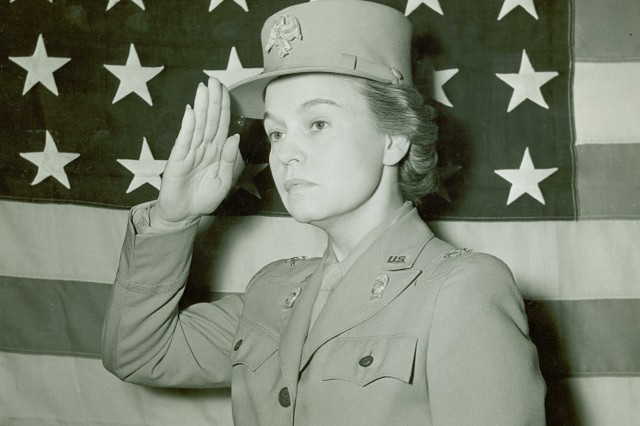 Colonel Oveta Culp Hobby, First Director, Women's Army Auxiliary Corps, (U.S. Army Signal Corps Collection).