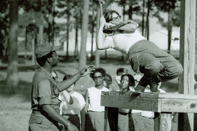 WAC running obstacle course during basic training, 1st WAC Basic Training Battalion, Fort Belvoir, VA 