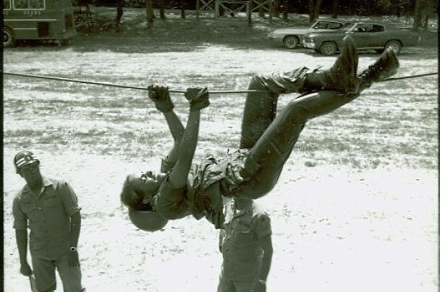 WAC on rope obstacle, 1st WAC Basic Training Battalion, Fort Belvoir, VA (Grace M. King Collection).