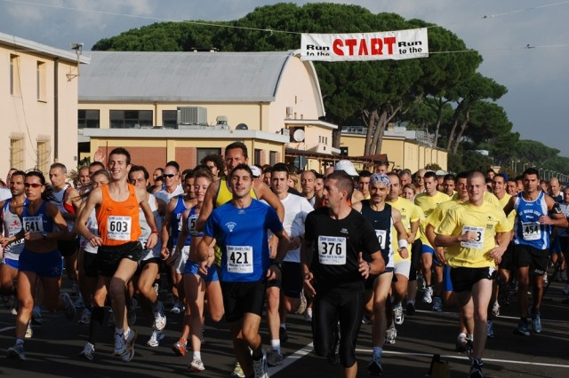 More than 250 runners from across Europe participated in this year's Camp Darby Run to the Tower. The race begins at U.S. Army Garrison Livorno, Italy, and ends at the Leaning Tower of Pisa