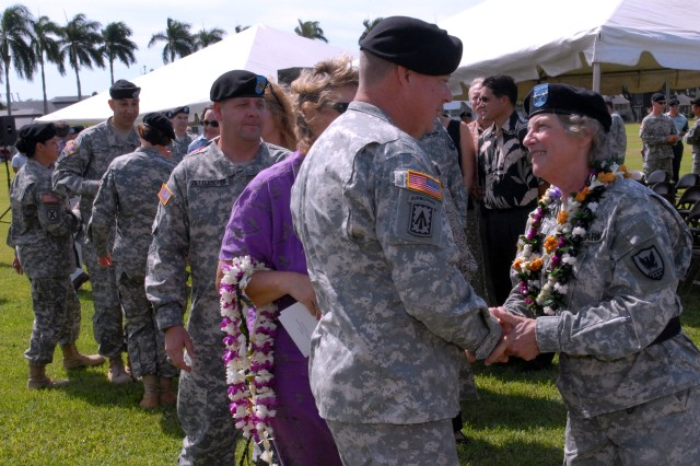 FORT SHAFTER, Hawaii - Maj. Gen. Donna Dacier, outgoing commander, 311th Signal Command (Theater), is greeted by U.S. Army, Pacific, Deputy Commanding General Brig Gen. John Seward. This is the final command for Dacier, who dedicated 34 years of service to the United States Army (photo by Army Staff Sgt. Crista Yazzie, USARPAC Public Affairs)