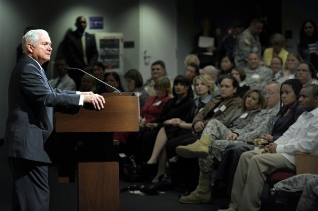 U.S. Defense Secretary Robert M. Gates speaks during the Wounded Warrior Summit at the Pentagon, Oct. 20, 2008.