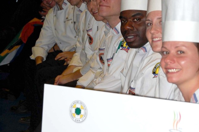 The U.S. Army Culinary Arts Team is all smiles as they compete against 13 foreign military teams during the World Culinary Olympics, Oct. 18 - 23, in Erfurt, Germany.