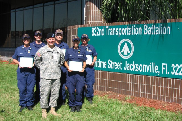 Coast Guardsmen presented Army awards for supporting transportation mission