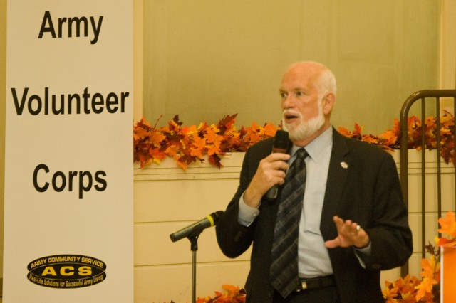 USAG-Yongsan, South Korea deputy commander Don Moses makes an address during a quarterly volunteer recognition ceremony, Oct. 15, 2008.