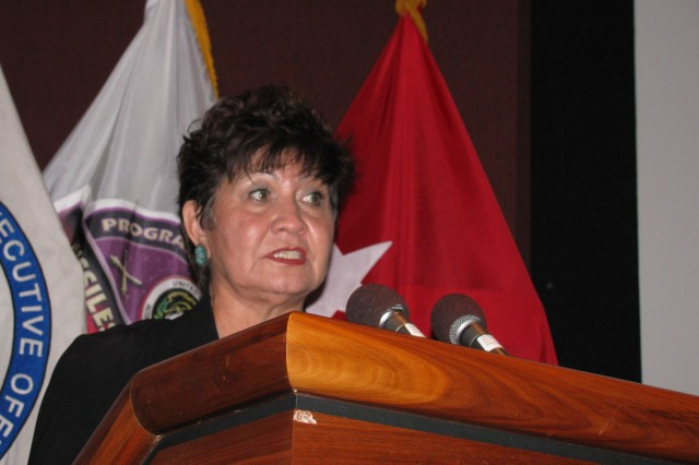 Nancy Archuleta, founder of MEVATEC Corporation, speaks during the Hispanic American Heritage Program.