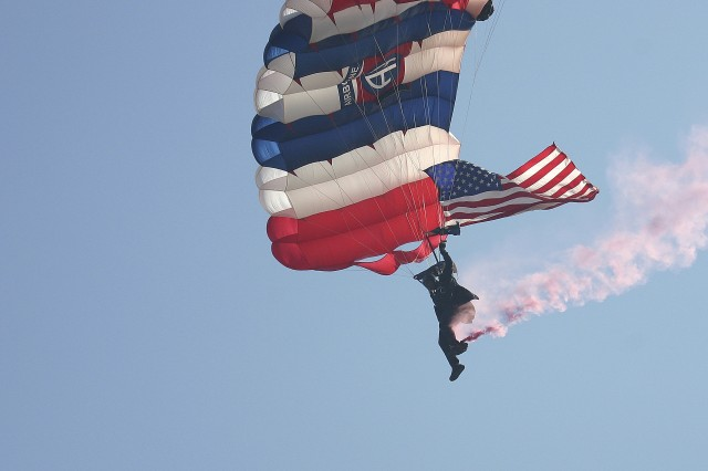 The Golden Knights U.S. Army Parachute is based at Fort Bragg, which is near Fayetteville, N.C.