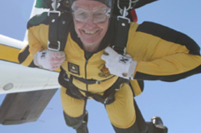 Dr. Bruce Jones, injury epidemiologist at the Army Center for Health Promotion and Preventive Medicine, jumps with the Army Golden Knights skydiving team.