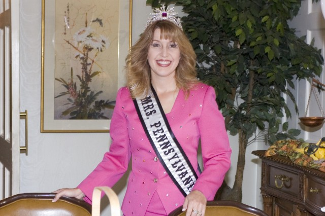 Wendy Sledd poses for a photo at the Federally Employed Women's Breast Cancer Awareness program in the LVCC on Oct. 22. Sledd, spouse of  Lt. Col. Keith Sledd, an Army War College student, has been selected for the Jefferson Award for Public Service for her dedication to volunteerism.
