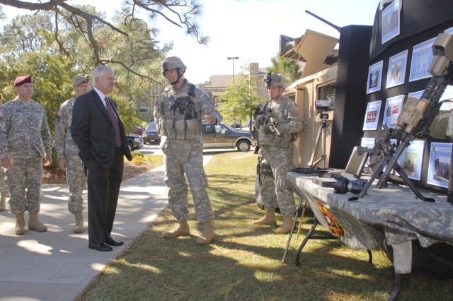 Secretary of Defense Robert Gates speaks with Soldiers from the 4th Psychological Operations Group (Airborne) during a visit to Fort Bragg, N.C., Oct. 23, 2008. The 4th POG is the U.S. Army's only active-duty psychological operations unit, whose main task is providing psyop support to Army Special Operations Forces. (Photo by USASOC PAO)