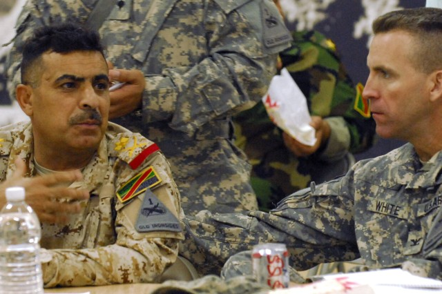 1st Armored Division, Iraqi army leaders discuss security cooperation in Mada'in Qada region