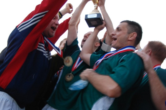 SHAPE celebrates their victory after winning the 2008 Installation Management Command-Europe's Community Level Soccer Championships Oct. 25 in Hohenfels, Germany.