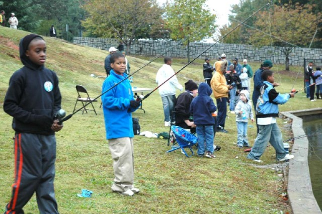 Fifty youths from the Fort McPherson, Fort Gillem and City of East Point communities lined Fort McPherson\'s Lake 1, next to the Main Gate, to cast their line during the Youth Fishing Rodeo championship held Oct. 25.