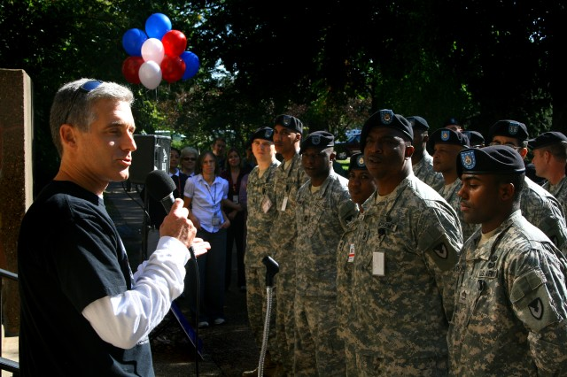 """Mark Smith, from Family Care Solutions, Inc., a non-profit charity in the Quad City area, speaks to the Soldiers and civilian employees of the US Army Sustainment Command Oct. 8 during a ceremony to begin the 2008 Combined Federal Campaign. The CFC is the annual fund raising drive conducted by federal, postal and military employees in their workplaces each fall and is the only authorized fund raising campaign for charities permitted in the federal and postal workplaces."""""""