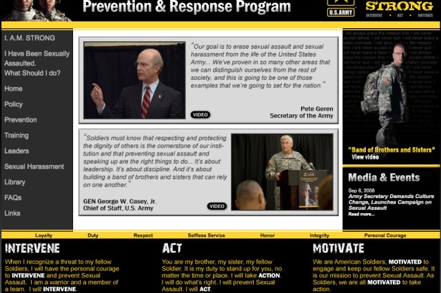 The Army has launched a new Sexual Assault Prevention Program Web site as part of its I. A.M. Strong campaign.