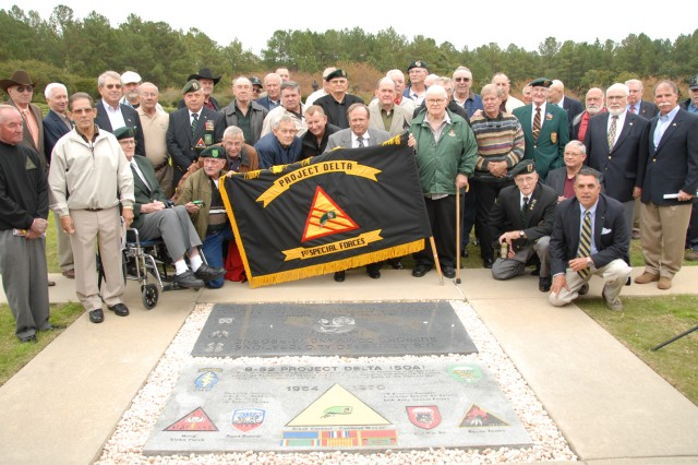 More than 50 members of Project Delta proudly display their unit colors Project Delta was a covert Special Forces operation in Vietnam which began May 15, 1964. A single SF detachment, B-52, was tasked with training the Civilian Irregular Defense Group and the South Vietnamese Special Forces, known as the Luc Luong Dac Biet, in conducting long-range reconnaissance patrols in uncontrolled and enemy territory.