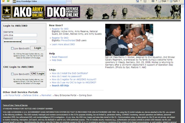 AKO recognized by DOD as information delivery standard