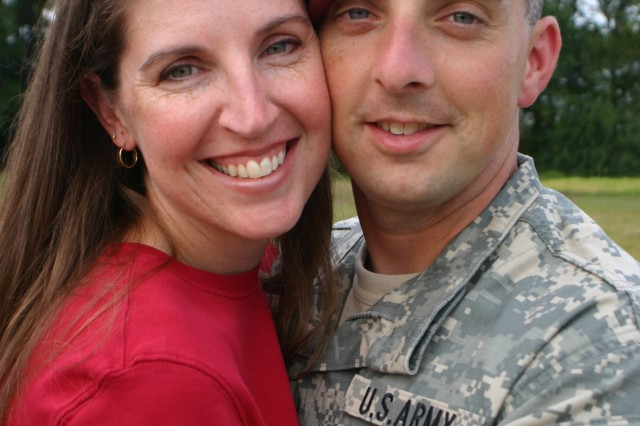 Wesley Bauguess and her late husband, Maj. Larry Bauguess, Jr., pose in September of 2006. His enthusiasm for the 82nd Airborne Division lead Wesley to accept the position as president of the 82nd Airborne Division Wounded Warrior Committee. Maj. Bauguess died in combat during Operation Enduring Freedom in 2007.