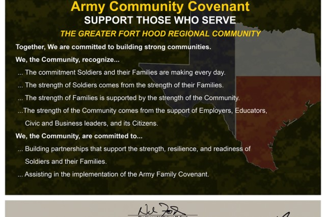 Fort Hood leaders joined Gen. Charles Campbell, Forces Command commanding general, in signing the Army Family Covenant Nov. 1, 2007, at the Oveta Culp-Hobby Soldier and Family Readiness Center, they created a physical sign of their commitment.