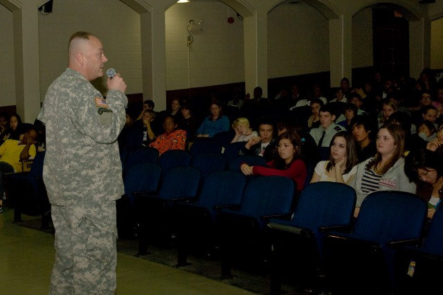 USAG-Yongsan Commander Col. Dave Hall speaks to Seoul American High School students about the dangers of substance abuse Oct. 29.