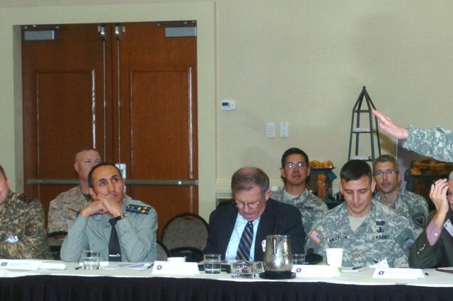 Col. William Huggins, U.S. Army Central's chief of Civil and International Military Affairs, talks to attendees about full spectrum operations at the Concept Development Conference held Oct. 28, 2008 in Atlanta, Ga. Participants from 14 countries attended the conference to plan the themes and topics for the  Land Forces Symposium, to be held in Kenya in 2009.